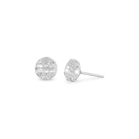 "8mm Round CZ ""9 Cut"" Design Earrings"
