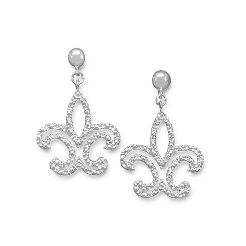 Rhodium Plated Fleur de Lis Post Earrings