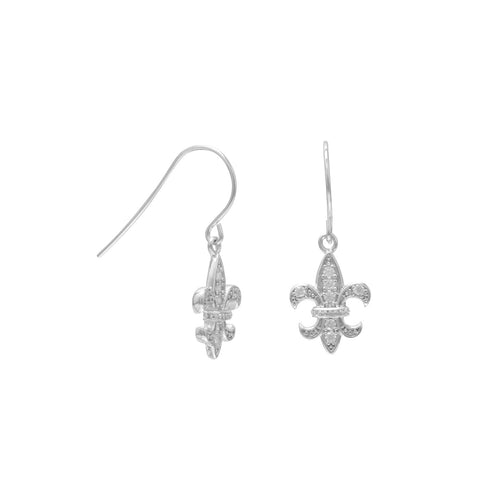 Rhodium Plated CZ Fleur de Lis French Wire Earrings