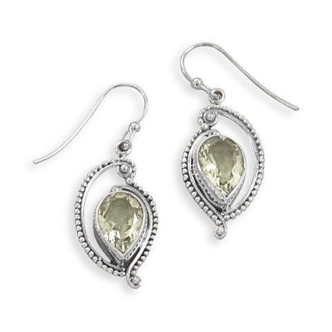 Green Amethyst French Wire Earrings with Cut Out Bead Design