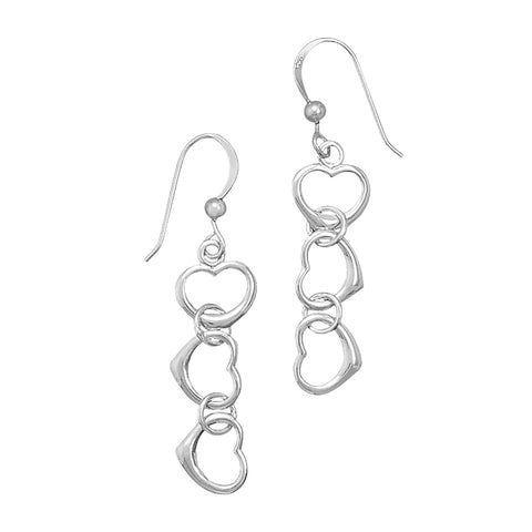 Rhodium Plated Cut Out Heart Drop Earrings