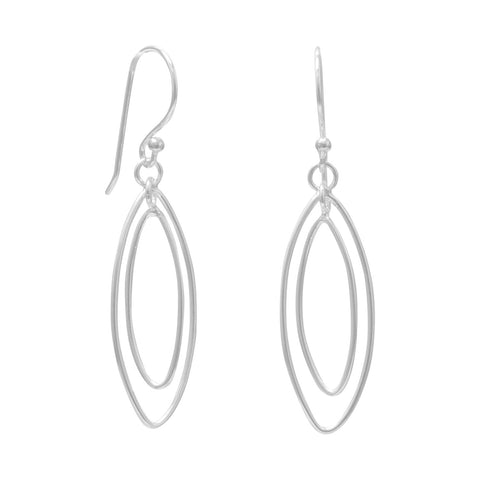 Double Marquise Drop French Wire Earrings