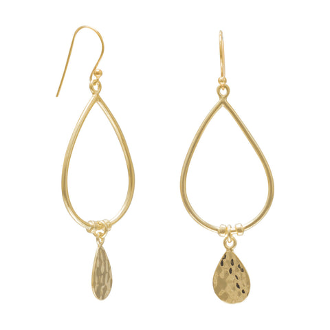 14 Karat Gold Plated French Wire Earrings with Hammered Drops