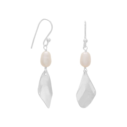 Cultured Freshwater Pearl and Twist Drop French Wire Earrings
