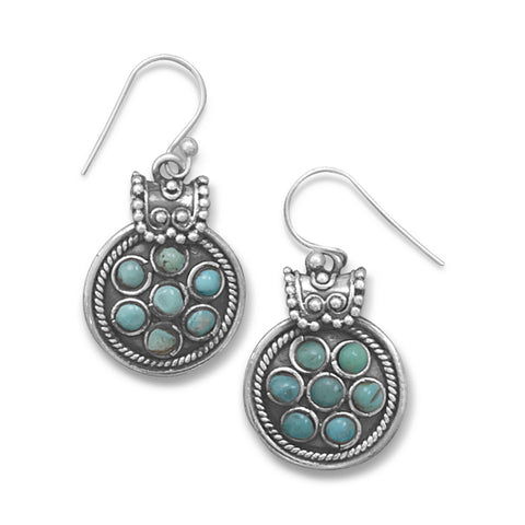 Oxidized Synthetic Turquoise French Wire Earrings