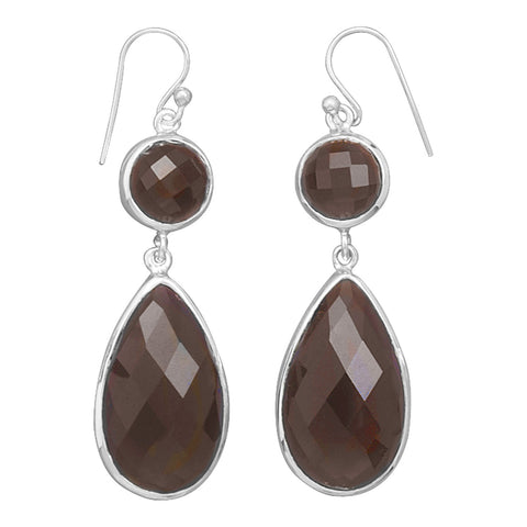 Multishape Faceted Smoky Quartz Drop French Wire Earrings