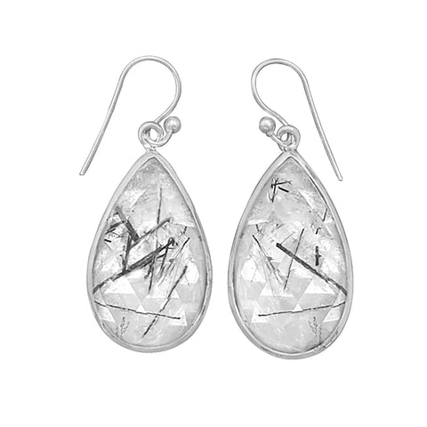 Tear Shape Rutilated Quartz French Wire Earrings
