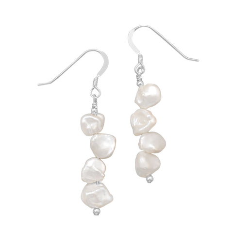 Cultured Freshwater Keshi Pearl Earrings