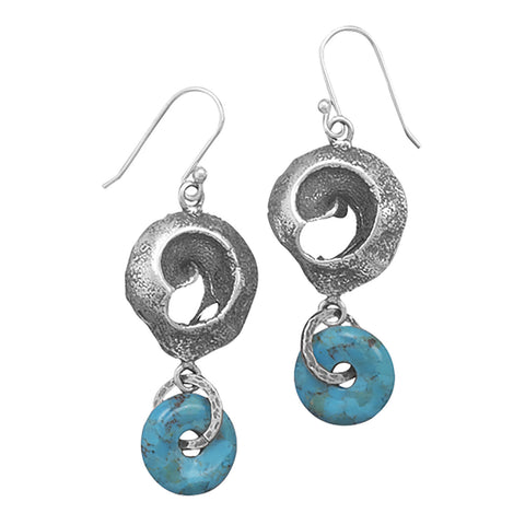 Oxidized Open Swirl and Reconstituted Turquoise Drop Earrings