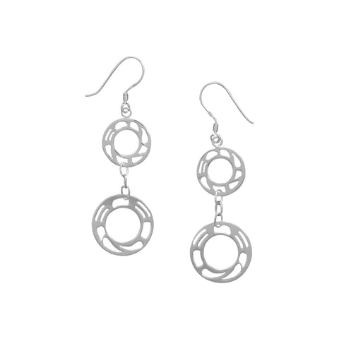 Rhodium Plated Ornate Circle Earrings