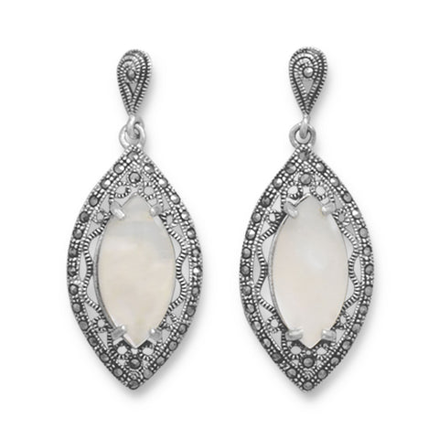 Cut Out Marcasite and White Shell Earrings