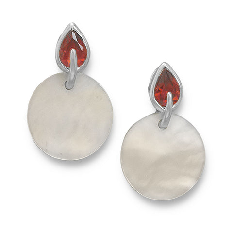 White Shell and Red CZ Post Earrings