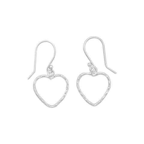 Open Heart French Wire Earrings