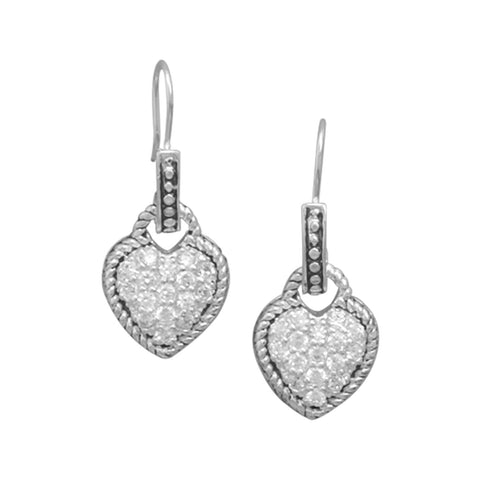 CZ Heart Earrings with Oxidized Rope Edge