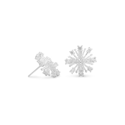 CZ Snowflake Post Earrings