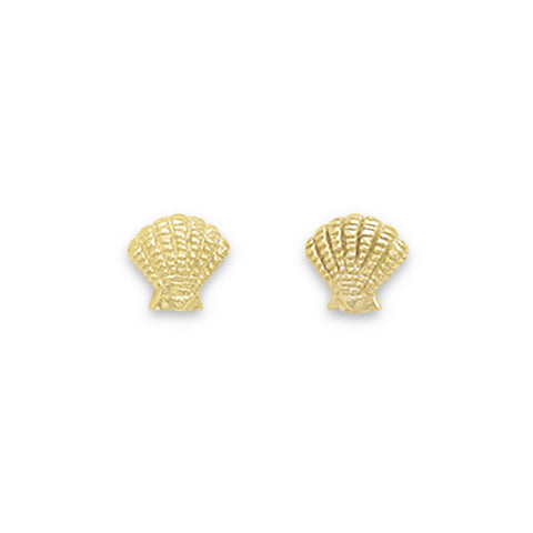 Gold Plated Clam Shell Stud Earrings