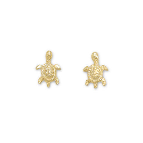 Gold Plated Turtle Stud Earrings