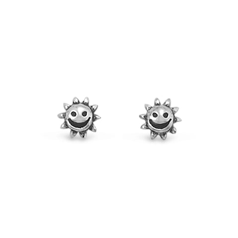 Oxidized Smiling Sun Stud Earrings