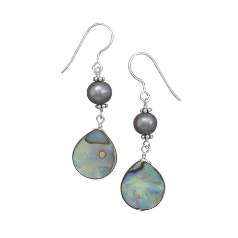 Peacock Cultured Freshwater Pearl and Abalone Shell Earrings