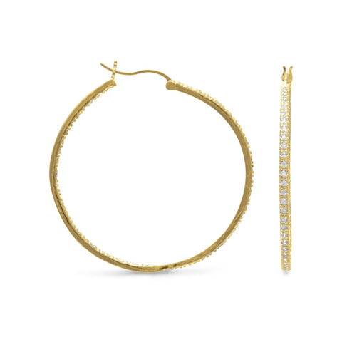 14 Karat Gold Plated CZ Hoop Earrings