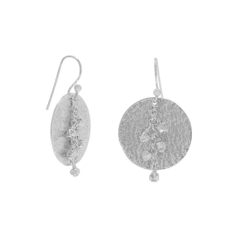 Earrings with Textured Disc and Beads