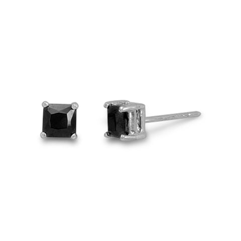Rhodium Plated Black CZ Studs