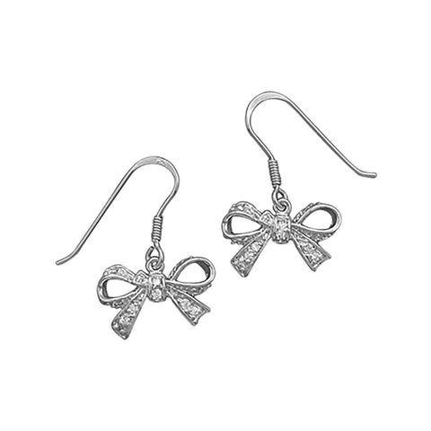 Rhodium Plated CZ Bow Earrings