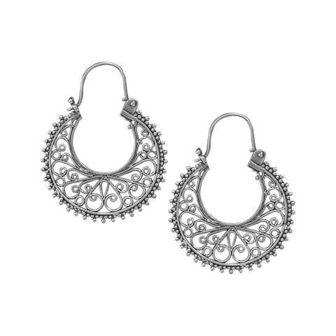 Ornate Bead and Scroll Hoop Earrings