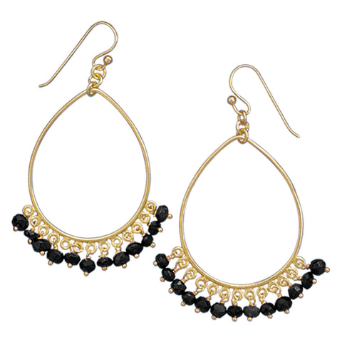 14 Karat Gold Plated Earrings with Black Onyx