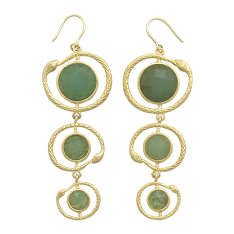 Gold Plated Aventurine Snake Design Earrings