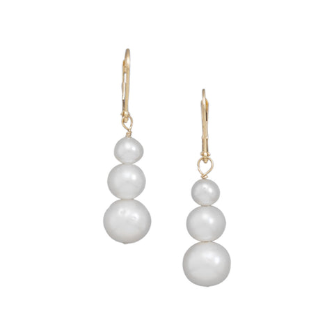 Graduated Cultured Freshwater Pearl Drop Earrings