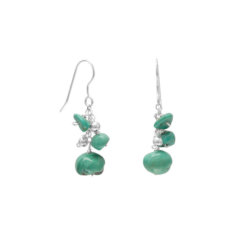 Reconstituted Turquoise and Silver Bead Drop Earrings