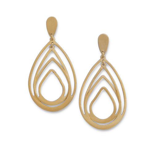 14 Karat Gold Plated Pear Shape Drop Earrings