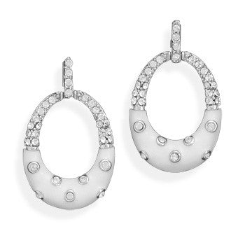 White Enamel Oval Earrings with Crystals