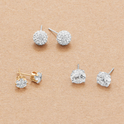 14 Karat Gold 6mm CZ Stud Earrings