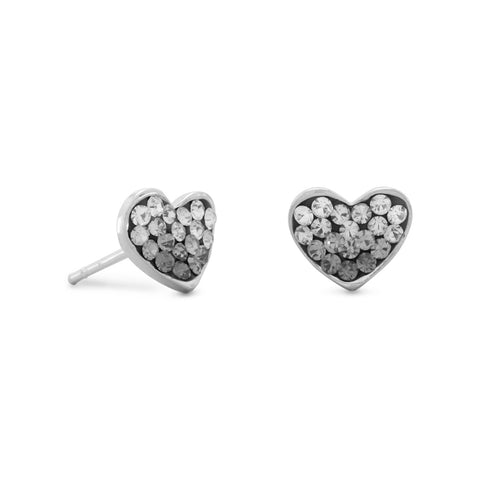 White and Black Crystal Heart Earrings