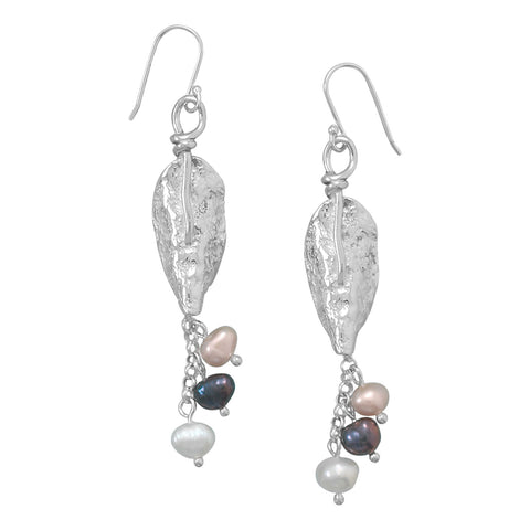 Textured Silver Leaf and Cultured Freshwater Pearl Earrings