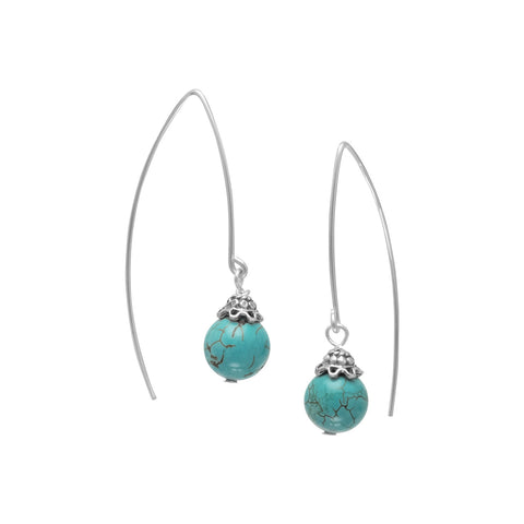 8mm Reconstituted Turquoise Bead Long Wire Earrings
