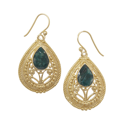 Ornate 14 Karat Gold Plated Beryl Earrings