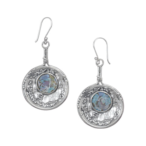 Oxidized Roman Glass Earrings