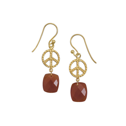 14 Karat Gold Plated Peace Sign Earrings with Carnelian