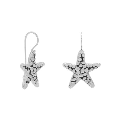 Oxidized Starfish Earrings