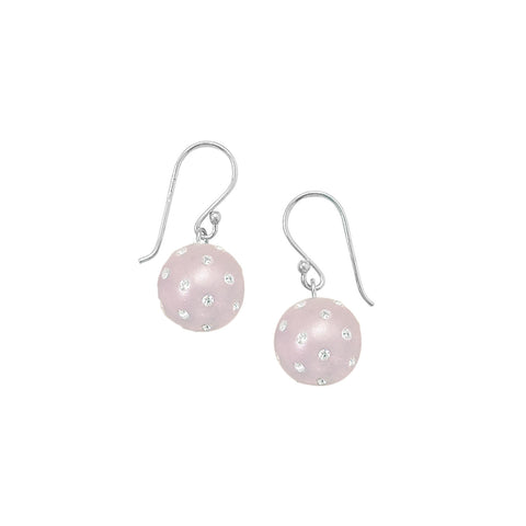 Rhodium Plated Light Pink Earrings with Crystal