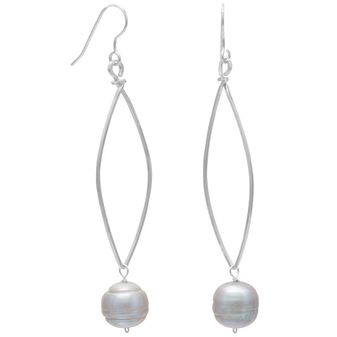 Silver Cultured Freshwater Pearl Drop Earrings
