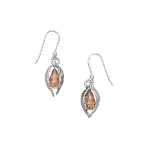 CZ and Leaf Design Earrings