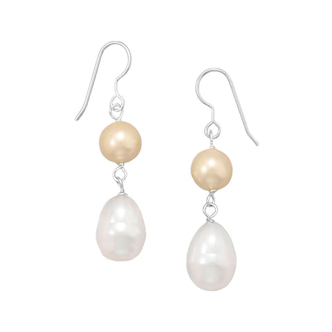 Yellow and White Shell Base Pearl Earrings
