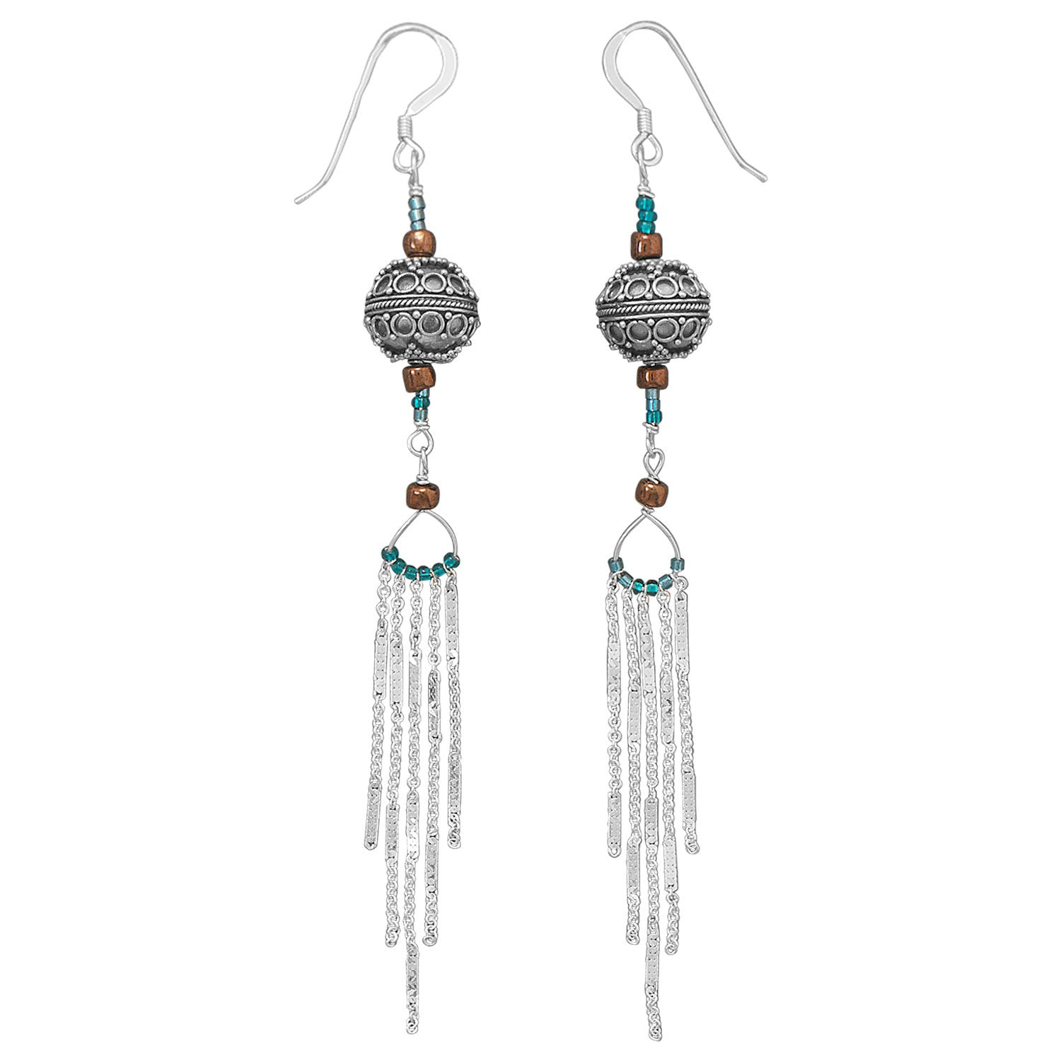 ''5'''' Chain Drop Earrings with Bali and GLASS BEADS''