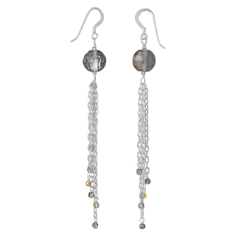 Crystal and Glass Bead Chain Drop Earrings