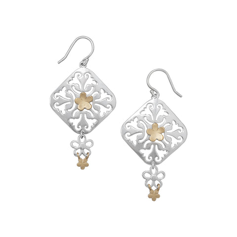 Flower Design Drop Earrings