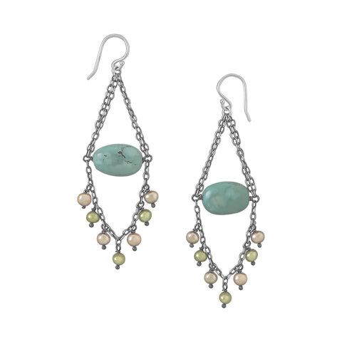 Reconstituted Turquoise and Cultured Freshwater Pearl Earrings